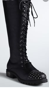 Torrid spike studded toe lace up boots knee high